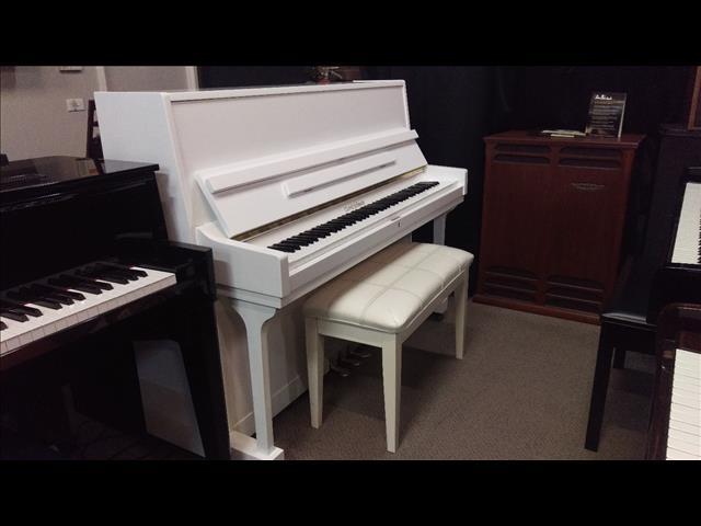 Gors & Kallmann 115cm Studio Upright White Polished Piano
