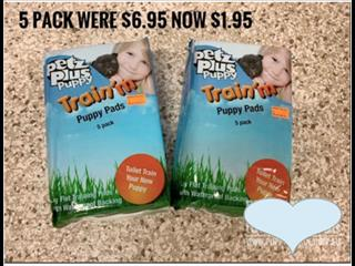Puppy Training Pads. In store Now. 5 Pack Reduced to just $1.95.