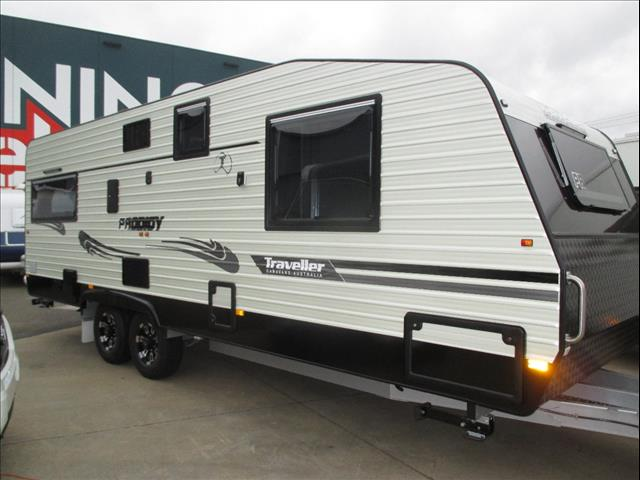 """Traveller 22'6"""" Prodigy, Tandem Touring Caravan, Queen Bed, Zoned Living, Rear Cafe Lounge, Ensuite"""