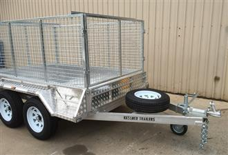 8X5 ALUMINIUM TANDEM AXLE TRAILER WITH MECHANICAL DISC BRAKES CAGE & RAMPS