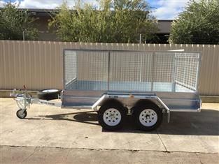 10X5 GALVANISED TANDEM CAGED TRAILER WITH BRAKES AND RAMPS