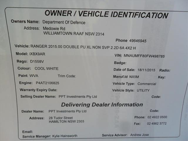 2015  FORD RANGER XL 2.2 HI-RIDER (4x2) PX MKII RWD CREW CAB P/UP