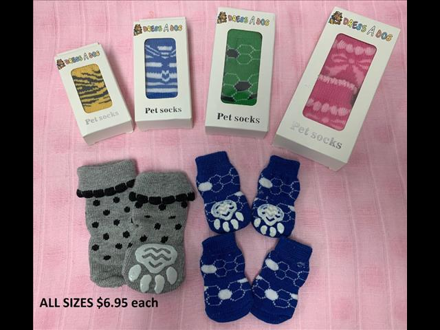 Dog/Pet Socks. Until Sold Out - 4 Packs. Over 10 Styles and Colours to choose from.  At Puppy Palace Pet Shop, Brisbane. 073808 2880