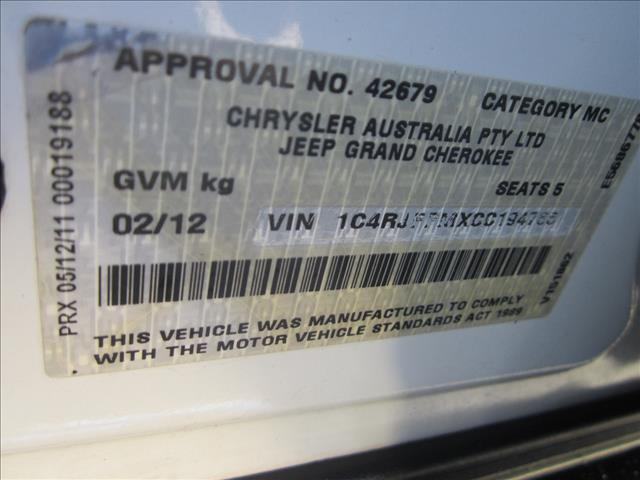 2012 JEEP GRAND CHEROKEE LIMITED (4x4) WK MY12 4D WAGON