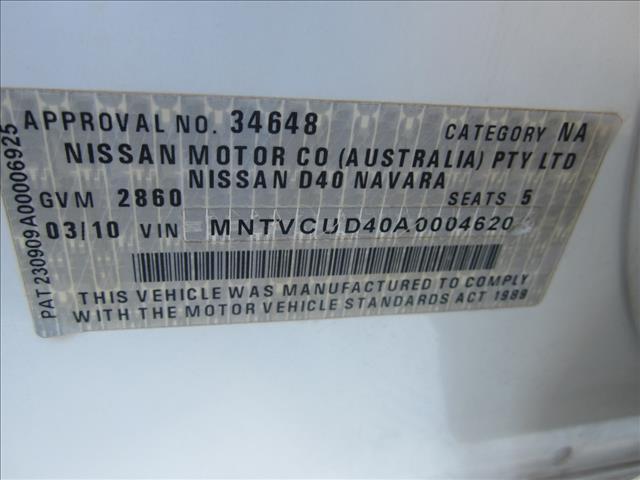 2010 NISSAN NAVARA RX (4x4) D40 DUAL CAB P/UP