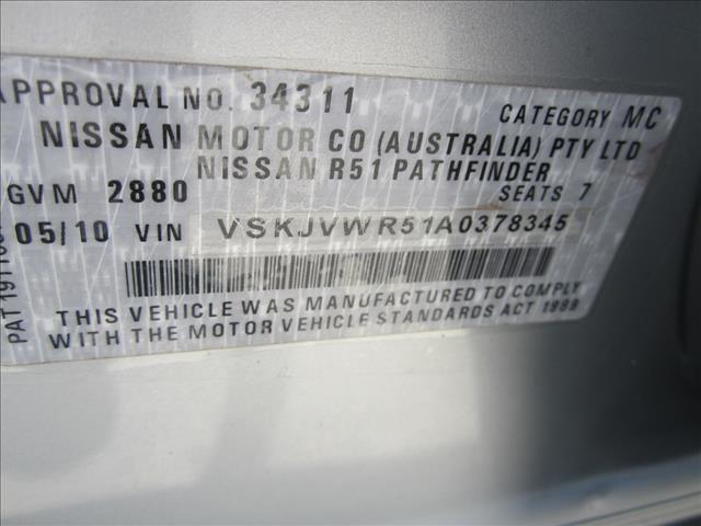 2010 NISSAN PATHFINDER Ti (4x4) R51 MY07 4D WAGON