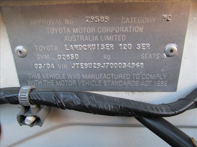 2004 TOYOTA LANDCRUISER PRADO GXL (4x4) GRJ120R 4D WAGON