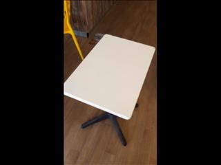 600x400mm RECTANGULAR WHITE TABLE WITH MATTE BLACK ROMA BASE