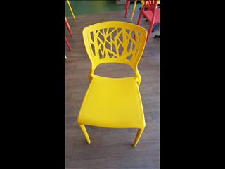 STEPHANIE CHAIR IN YELLOW. STACKABLE PPE CAFE/SHOP CHAIR